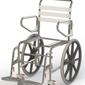 K Care Healthcare Equipment Folding Shower Commode Self Propelled Rear Wheels