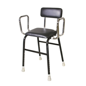 R & R Healthcare Equipment Kitchen Stool with Arms Black