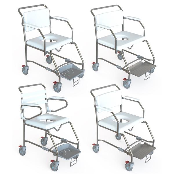K Care Healthcare Equipment Maxi Shower Commode Attendant Sliding Foot Plate