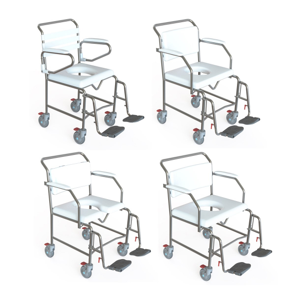 K Care Healthcare Equipment Maxi Shower Commode Attendant Swing Away Foot Rests