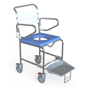 K Care Healthcare Equipment Shower Commode Attendant with Sliding Foot Plate