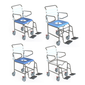 K Care Mobile Shower Commode Attendant Propelled Swing Up Arms