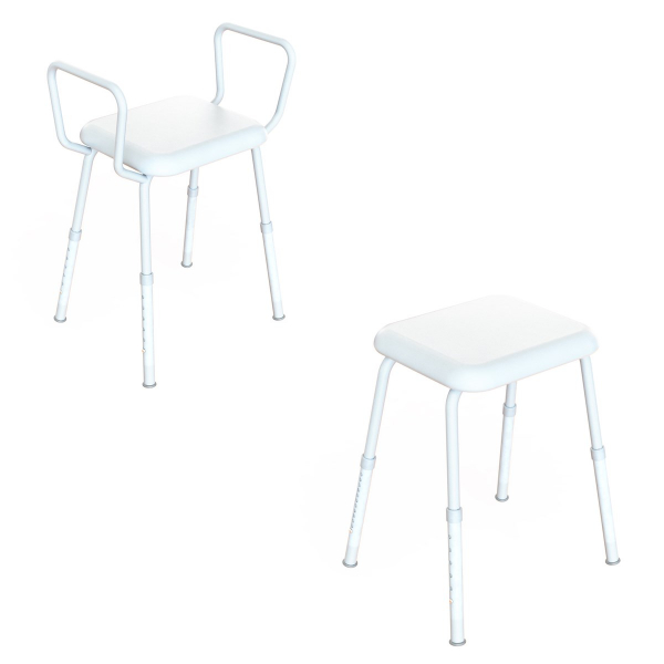 K Care Healthcare Equipment K-Care Shower Stool with Padded Seat Zinc
