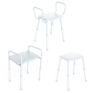 K Care Healthcare Equipment Shower Stool with Plastic Seat Zinc