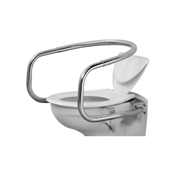 Throne Wraparound Toilet Support Rails Polished Steel